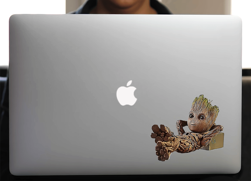 Sticker pour Macbook ou PC, Cool Baby groot