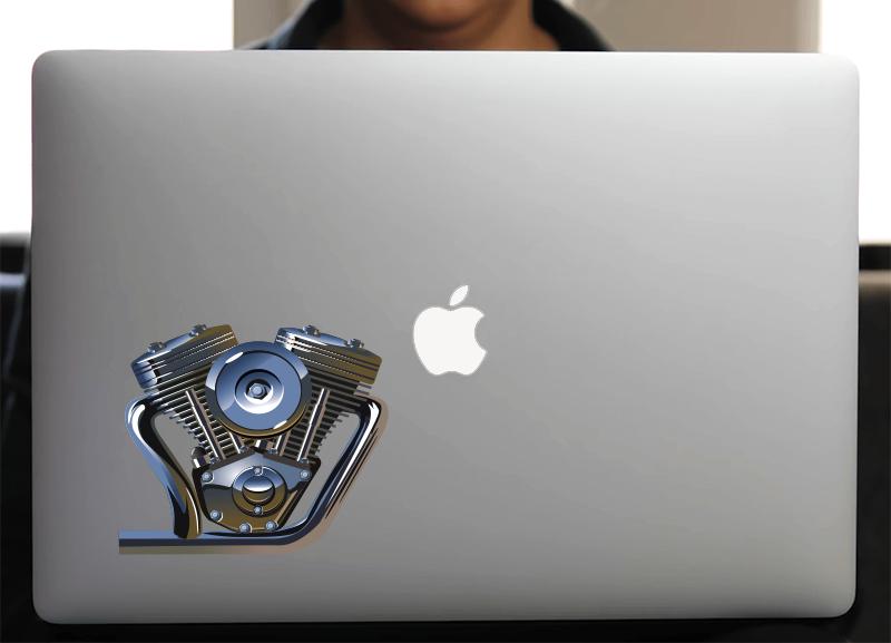 Sticker pour Macbook ou PC,  V TWIN, H.15 cm