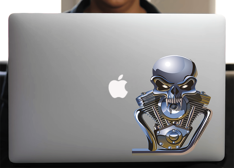 Sticker pour Macbook ou PC, V TWIN SKULL, H.18 cm