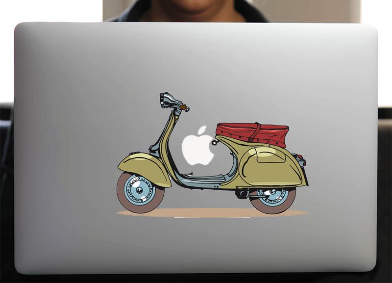 Sticker pour Macbook ou PC, Vespa Vintage H.15 cm
