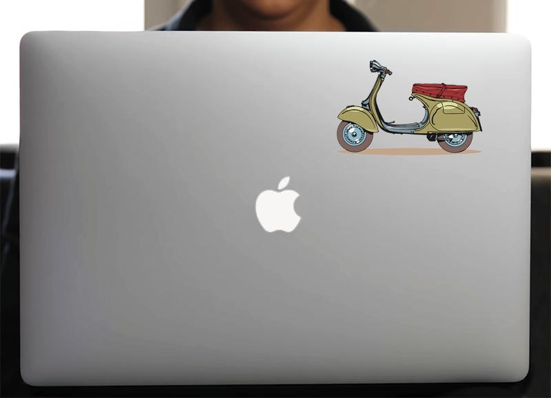 Sticker pour Macbook ou PC, Vespa Vintage H. 8 cm