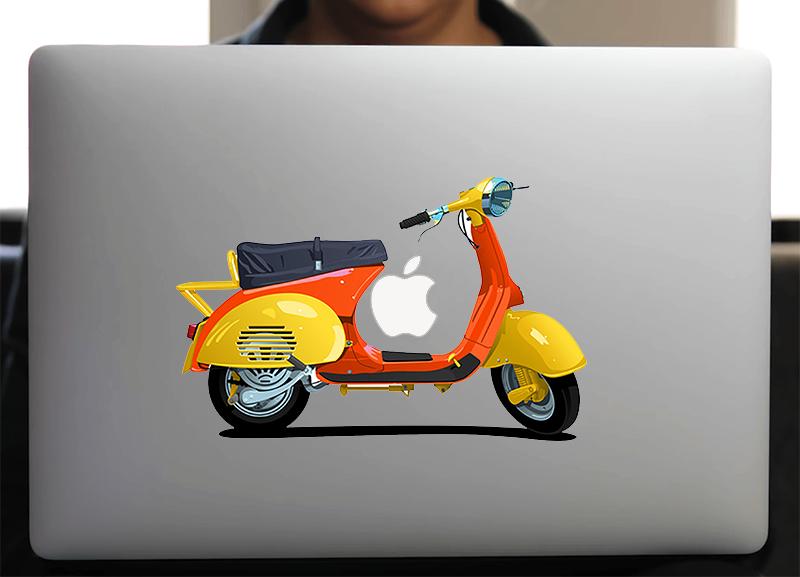 Sticker pour Macbook ou PC, Vespa Orange, H. 15 cm