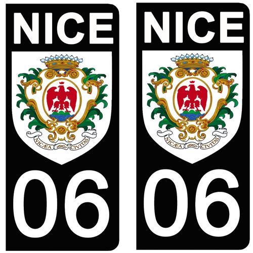 2 stickers pour plaque immatriculation Auto, 06 Blason de NICE, noir