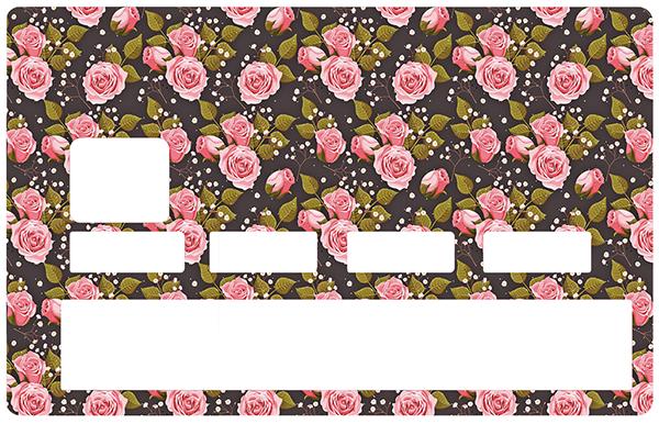 Sticker pour carte bancaire, parterre de rose