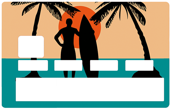 Sticker pour carte bancaire, Surf, Plage et Cocotiers