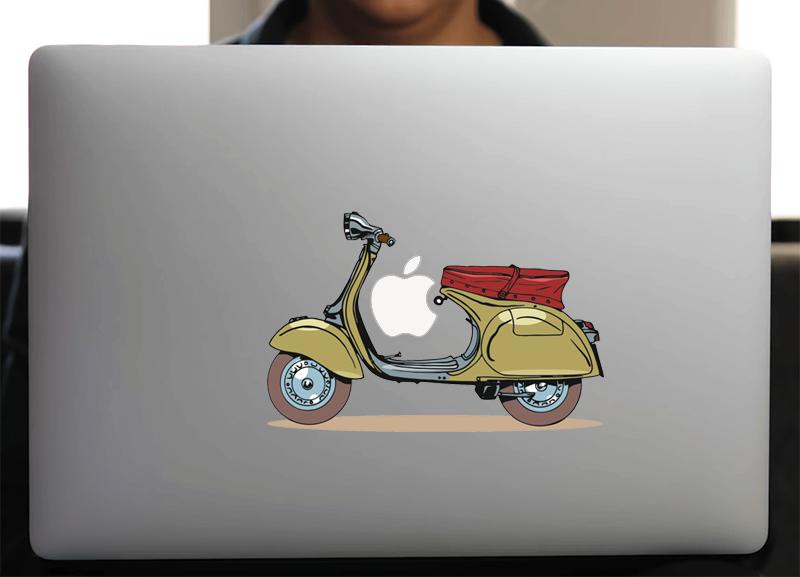 Sticker pour Macbook ou PC, Vespa Vintage L. 18 cm