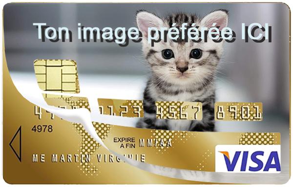 Sticker personnalisé pour carte bancaire, avec votre image préférée