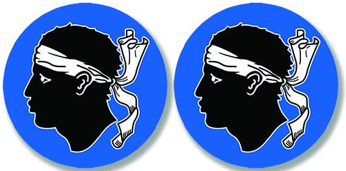2 badges adhésifs, Tête de Maure Corse
