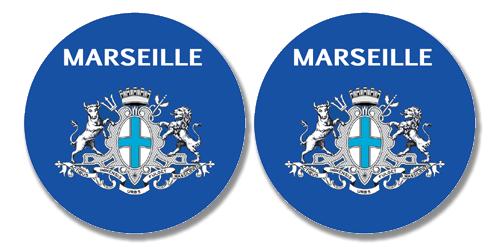 2 badges adhésifs, 13 Marseille