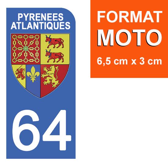 1 sticker pour plaque d\'immatriculation MOTO, 64 PYRENEES ATLANTIQUES