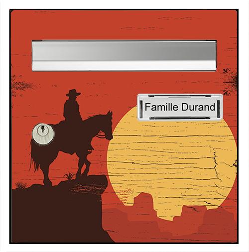 Sticker pour boîte aux lettres, owboy au coucher du soleil
