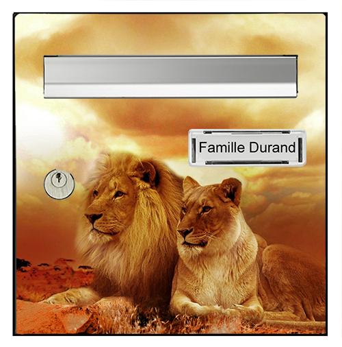 Sticker pour boîte aux lettres, Lions