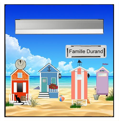 Sticker pour boîte aux lettres, Cabanes sur la plage