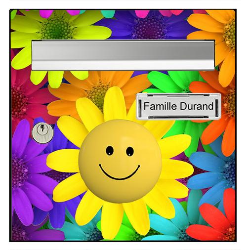 Sticker pour boîte aux lettres, Smiley flowers