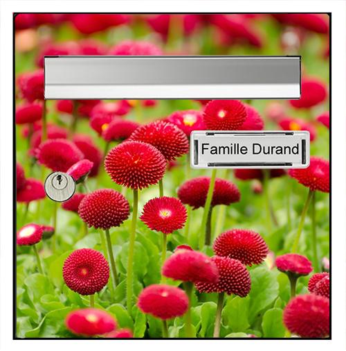 Sticker pour boîte aux lettres, Fleurs rouge