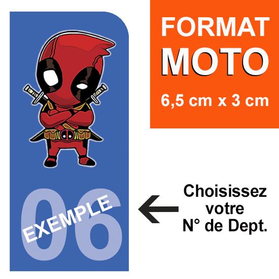 1 sticker pour plaque d\'immatriculation MOTO, Bleu ou Noir,  DEADPOOL, avec votre N° de département