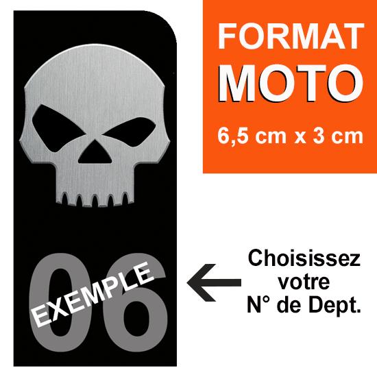 1 sticker pour plaque d\'immatriculation MOTO, Bleu ou Noir, SKULL, avec votre N° de département