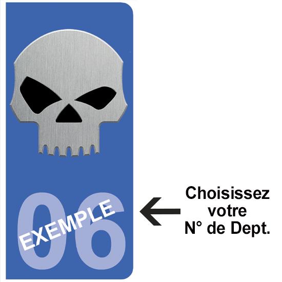 2 stickers pour plaque d\'immatriculation Auto, Bleu ou Noir, SKULL