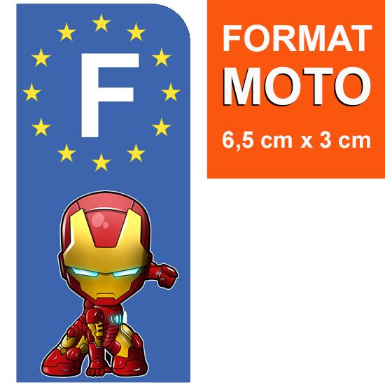 1 sticker pour plaque d\'immatriculation MOTO, Bleu ou Noir, IRONMAN