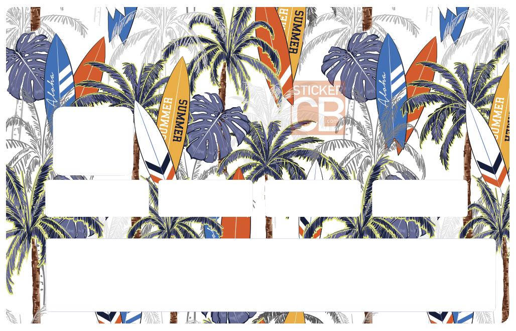 Sticker pour carte bancaire, Surf et Palmiers