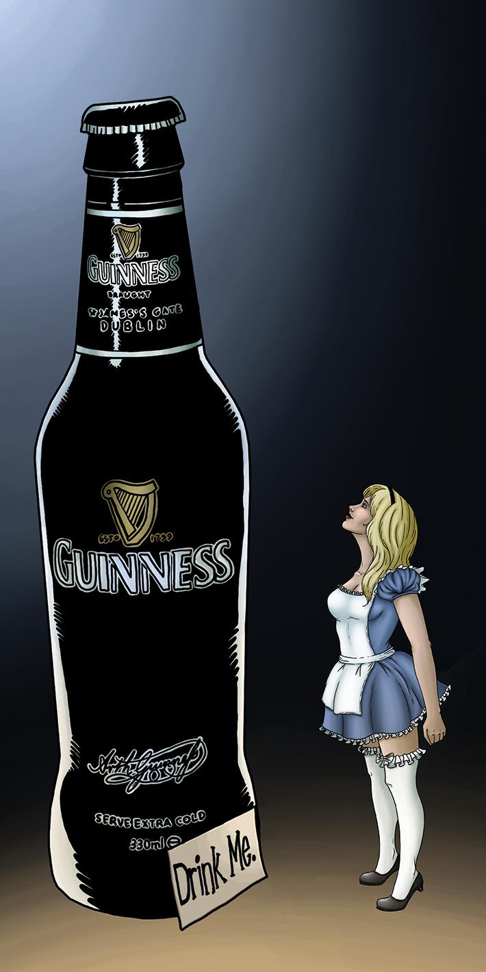 Alice drink me,  de Damien Garavagno, Dim:  50 cm x 100 cm