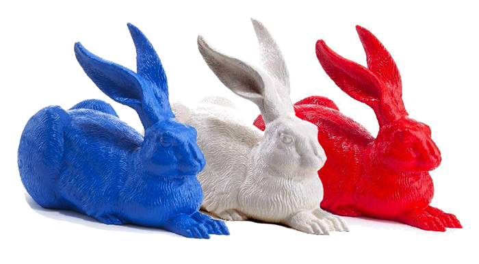 3 lièvres de Durer, Bleu, blanc,  rouge