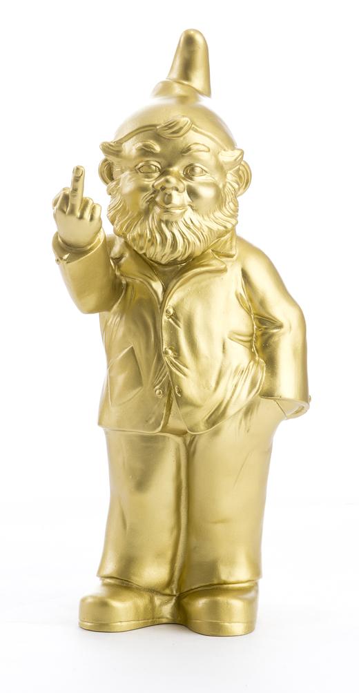 Le Nain de Jardin de l\'artiste Ottmar Hörl, Doigt d\'Honneur GOLD