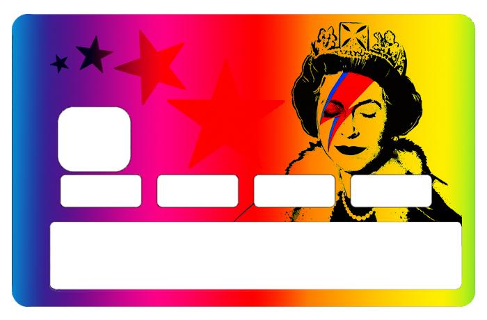 Sticker pour carte bancaire, Tribute to Bowie Vs Banksy rainbow