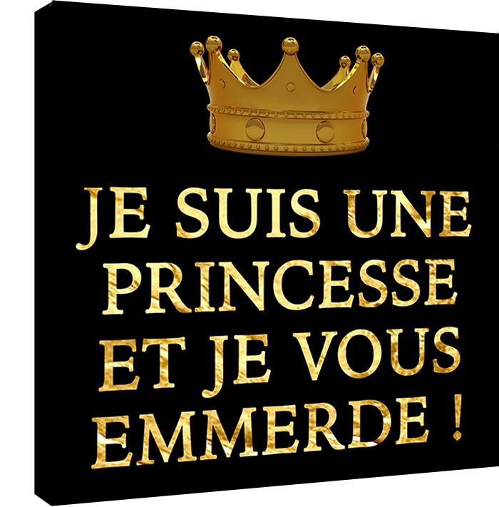 Je suis une Princesse et je vous emmerde. 30 cm x 30 cm,