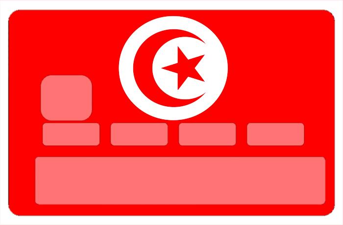 Sticker pour carte bancaire, drapeau de la Tunisie