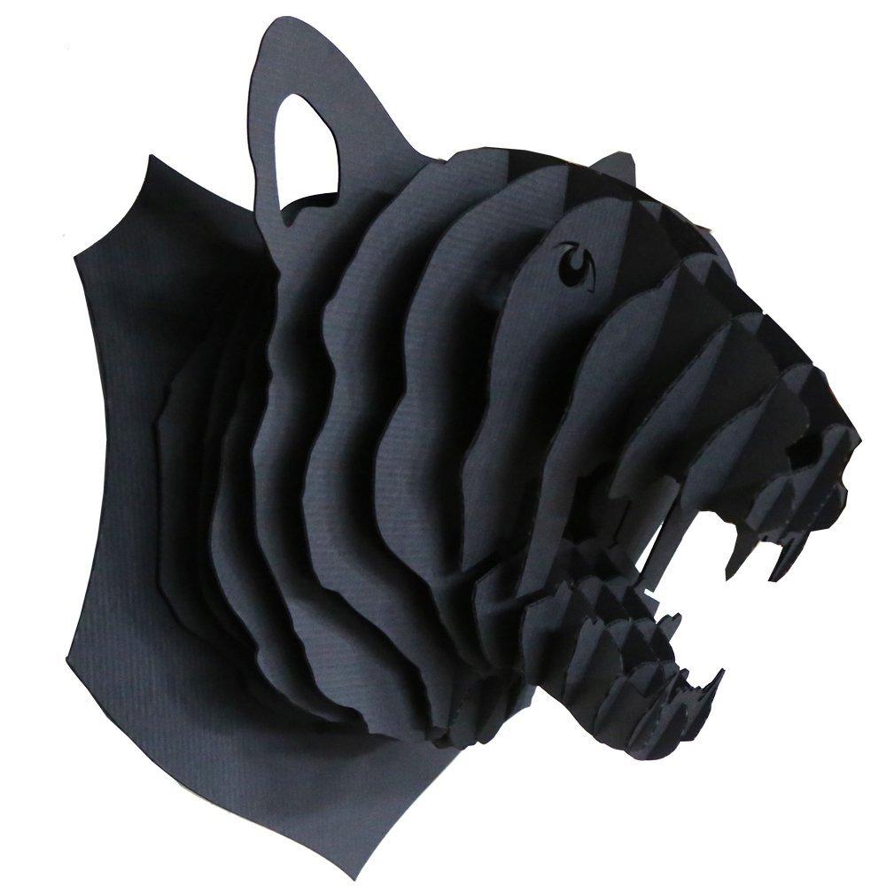 Trophée animalier, Puzzle 3D en carton à monter, Rose la panthére Noire
