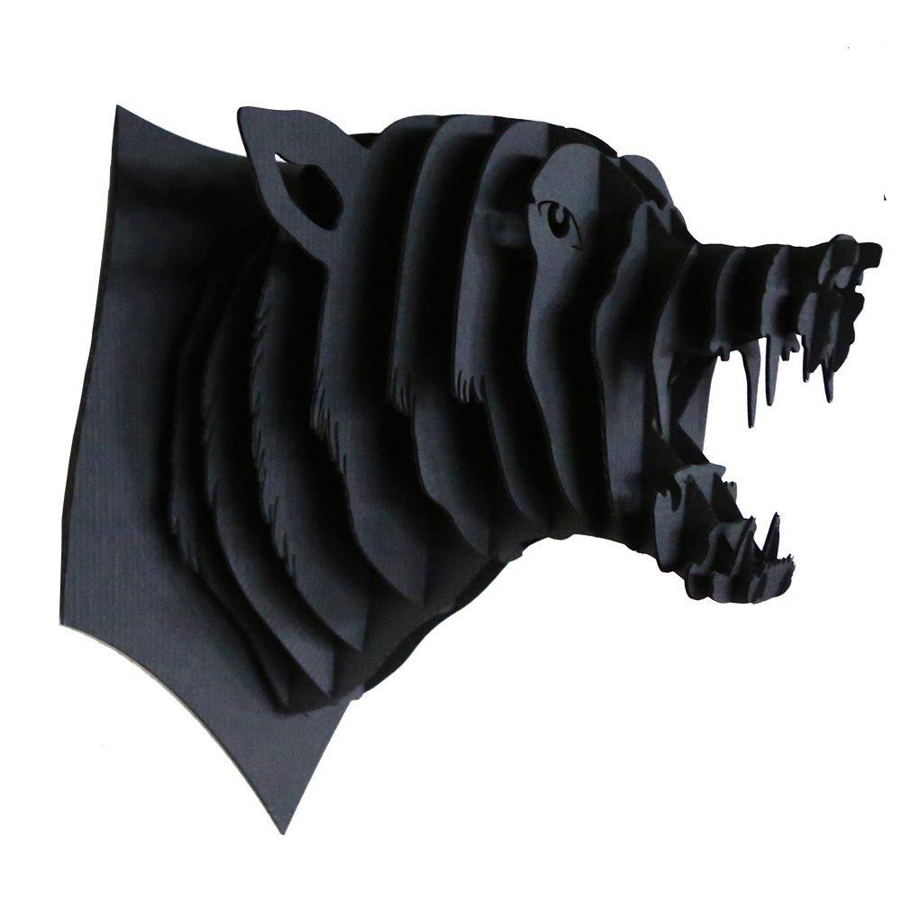 Trophée animalier, Puzzle 3D en carton à monter, Simon le loup noir