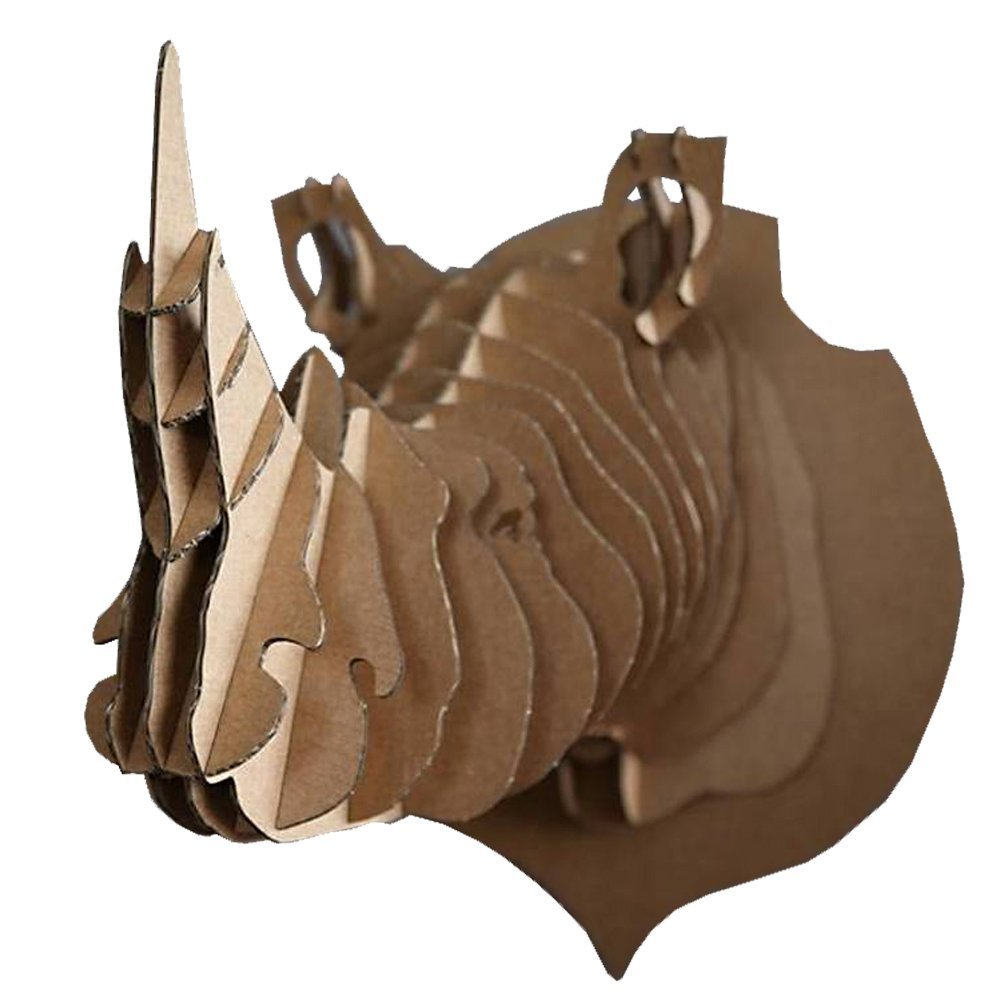 Trophée animalier, Puzzle 3D en carton à monter, Victor le rhinoceros