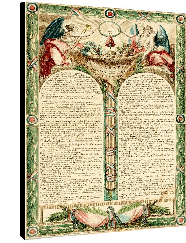 La déclaration des droits de l\'homme et du citoyen 1793,  Dim. 70 cm x 50 cm