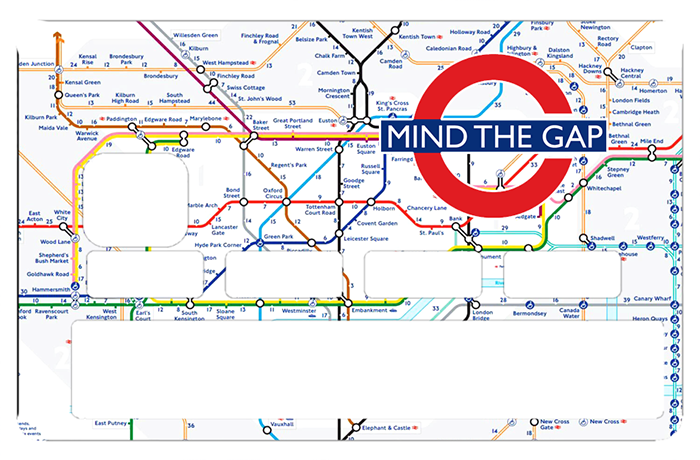 Sticker pour carte bancaire, Mind the Gap