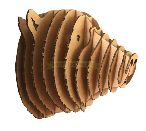 Trophée animalier, Puzzle 3D en carton à monter, Gaspard l\'Ours