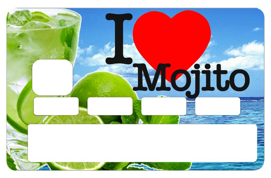 Sticker pour carte bancaire, I love MOJITO été 2018