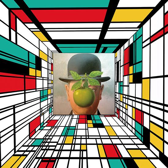 Mondrian rencontre l\'homme au chapeau de Magritte