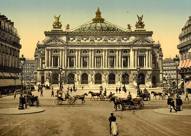 Paris,  l\'opera en 1900, Dim. : 50 cm x 70 cm