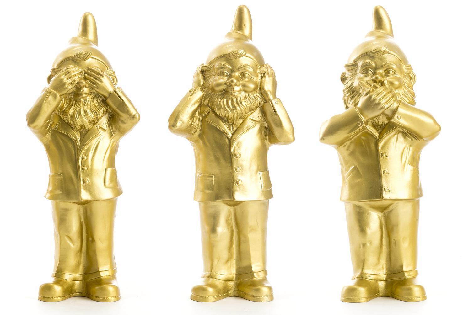 Les 3 Nains de Ottmar Hörl qui ne veulent pas voir, parler ou entendre, OR