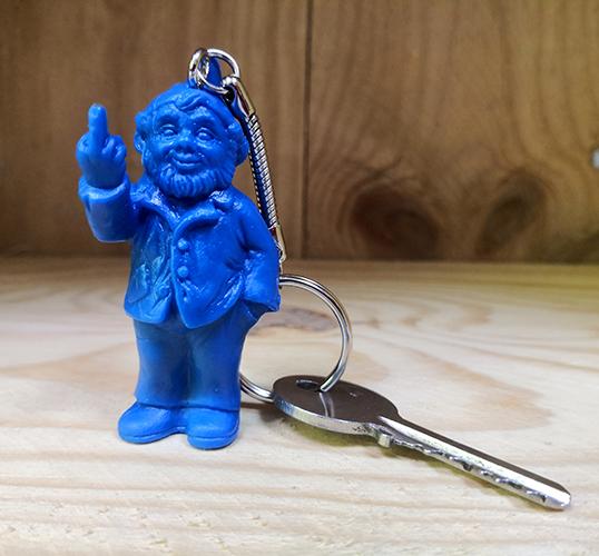 Porte clef, le fameux nain doigt d\'honneur de Ottmar Hörl, Bleu
