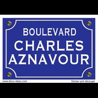 Sticker nom de rue, CHARLES AZNAVOUR