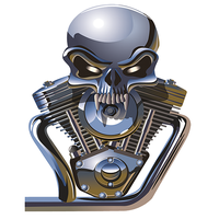 Sticker V TWIN SKULL, harley Davidson , Indian H.18 cm