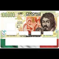 Sticker pour carte bancaire, billet de 100000 LIRES