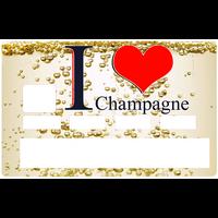 Sticker pour carte bancaire, I LOVE CHAMPAGNE
