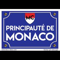 Sticker plaque de rue, Principauté de MONACO