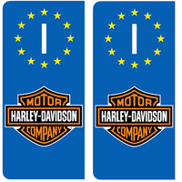 2 stickers pour plaque d'immatriculation ITALIE, Harley Davidson