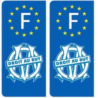 2 stickers pour plaque d'immatriculation, OM, edition limitée 100 ex