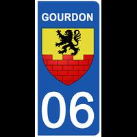 2 stickers pour plaque d'immatriculation pour Auto, 06 GOURDON