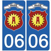 2 stickers pour plaque d'immatriculation pour Auto, 06, Marie sur Tinée